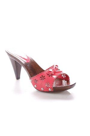 Via uno Plateau-Pumps pink-dunkelbraun Blumenmuster Gypsy-Look