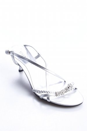 Via uno Strapped High-Heeled Sandals silver-colored elegant