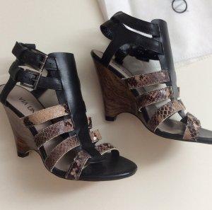 VIA UNO Sandale High Heel schwarz braun Gr 36 Neu Leder Fussbett Animalprint
