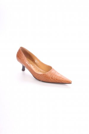 Via uno Spitz-Pumps cognac Reptil-Optik