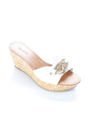 Via uno Wedge Sandals cream Decorative elements