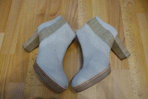 Via Vai Pumps Ankle Boots Gr.39 creme beige Reptilienleder Retro Look Plateau