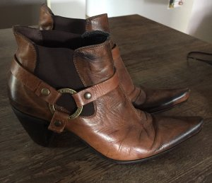Vic Matie Western Booties brown-light brown leather
