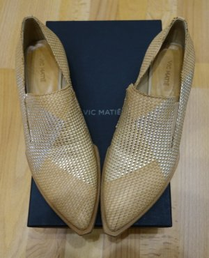Vic Matie Halbschuhe Loafer Echtleder Gr. 39,5 beige-creme Retro 70's Style