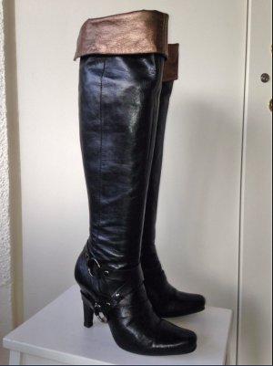 Vic Matié Overknee Stiefel boots Cuissardes,schwarz mit gold/broze, Gr.37