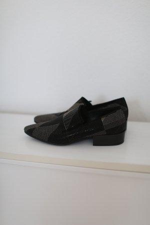 Vic Matie Slipper Glitzer Loafer Gr. 37/38 schwarz grau Echtleder Blogger