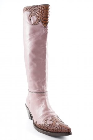 Vic Matie Western Boots dusky pink-brown abstract pattern country style