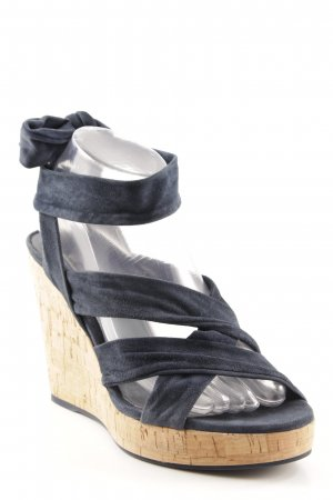 vic Wedge Sandals dark blue-light brown elegant