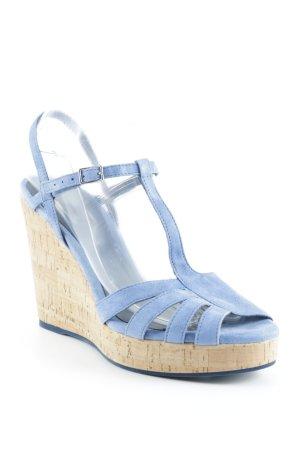 vic Wedge Sandals steel blue beach look