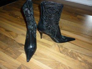 VICARI original italienische Leder Stiefeletten schwarz Cut Outs spitz 40