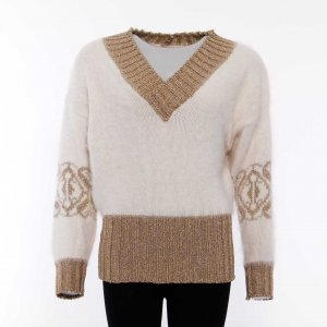 Vicky Mora Pullover Gr. M/38 in Cremé Gold mit Angora & Wolle