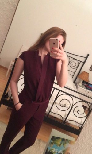 Vicolo Bordeaux-farbener Overall Jumpsuit mit 3/4 Hose
