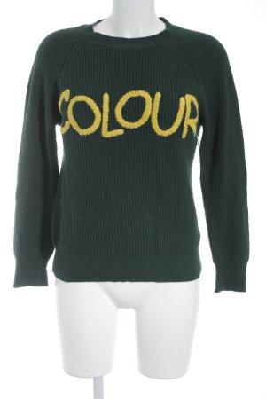 Vicolo Strickpullover waldgrün-gelb Schriftzug gestickt Casual-Look