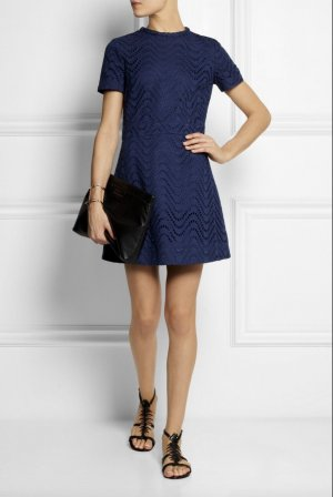 Victoria Beckham Cocktail Kleid Blau 32-34 XS Broderie Anglaise Cotton Dress Blue