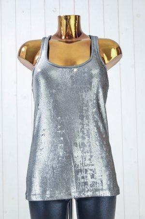 VICTORIA BECKHAM Damen Top Tank-Top Silber Glänzend Polyester Elastan Gr.2