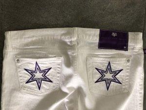 Victoria Beckham Jeans met rechte pijpen wit-donkerpaars Katoen