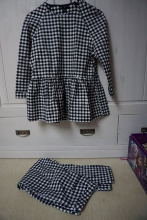 VICTORIA BECKHAM FOR TARGET SET BLUE/WHITE GINGHAM TWILL PEPLUM SET - SIZE XS/2