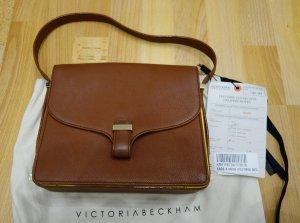 Victoria Beckham Harper Mini Shoulder Bag Tasche braun x gelb Leder Retro Chic
