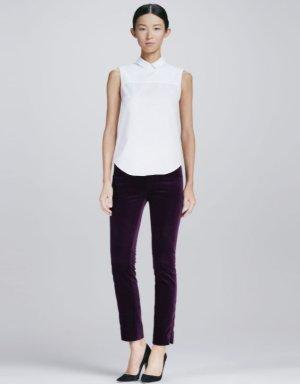 VICTORIA BECKHAM Hose Lila Rot Samt 36 S Smoking Pants Purple Stretch Cotton 26