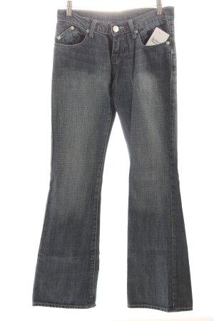 Victoria Beckham Schlaghose dunkelblau-wollweiß Washed-Optik