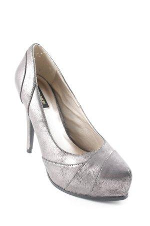 Victoria delef High Heels grau-roségoldfarben Glanz-Optik