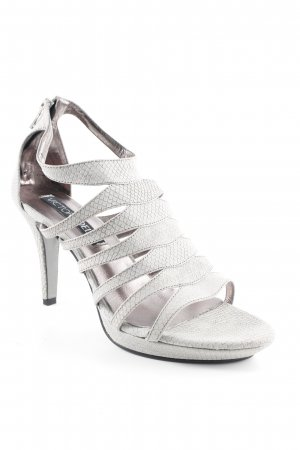 Victoria delef Strapped High-Heeled Sandals light grey reptile print
