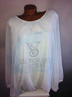 Victoria's Secret Blusa larga blanco-azul celeste