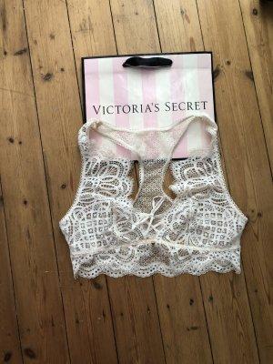Victoria's Secret Bralette Bustier Lace Up Cream White