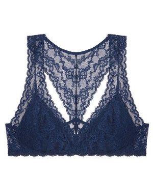 Victoria's Secret Bralette mit Racerback Gr. M blau NEU Spitze Spitzen-Bralette