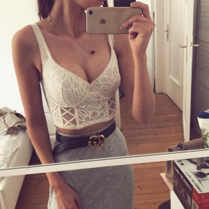 Victoria's Secret Bustier Bralette Top Festival Boho Ethno Lace Push Up