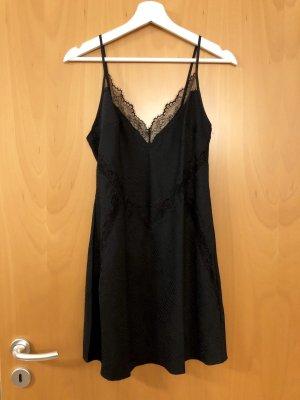Victoria's Secret Jacquard Lace-trim Slipdress Negligé Kleid in schwarz