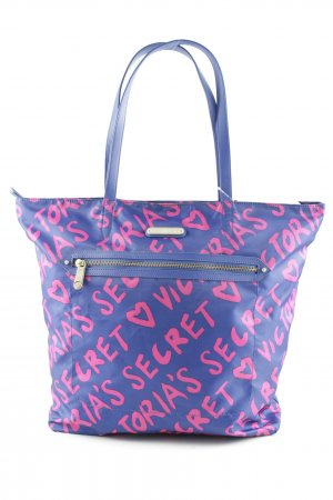 Victoria's Secret Burlap Bag blue-neon red printed lettering athletic style