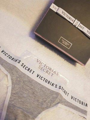 Victoria's Secret Logo Tanga String Thong Slip Cheeky Höschen Größe S grau