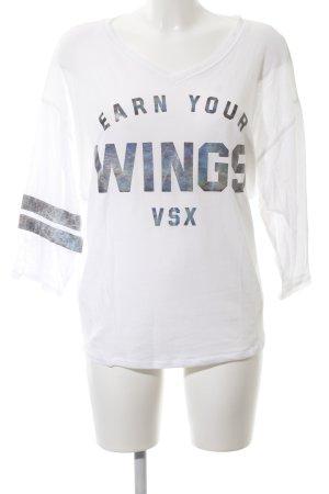 Victoria's Secret Longsleeve weiß-blau Schriftzug gedruckt Casual-Look