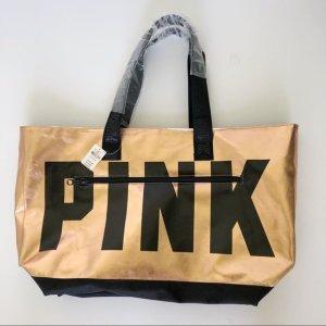 Pink Victoria's Secret Tote bronze-colored