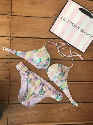 Victoria's Secret Push Up Bikini Federn Pailletten Top Set VS