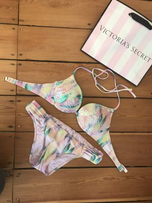 Victoria's Secret Push Up Bikini Federn Pailletten Top Set VS