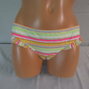 Victoria's Secret Ruffle Leg Swim Bottom Multi Foil Stripe S NWOT