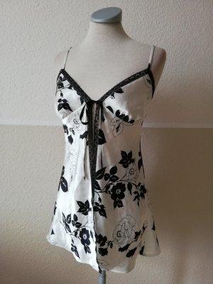 Victoria`s Secret Satintop Negligee schwarz weiß Satin Spitze Gr. XS 34 neu gothic Lolita Nachthemd