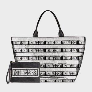 Victoria's Secret shopper Pailletten schwarz silber Glitzer