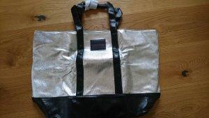 Borsa shopper nero-argento