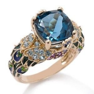 Victoria Wieck Designer London Blauer Topas 5.2ct in 14 Karat Goldring