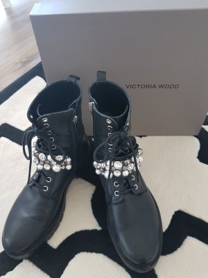 Victoria Wood Bikerstiefelette Winterschuhe Schuhe Steiefeletten schwarz 40