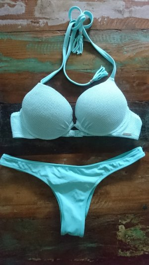 Victorias Secret / Calzedonia Bikini Set Push Up Top 75B und Itsy Höschen Gr. S Türkis Mint Aqua