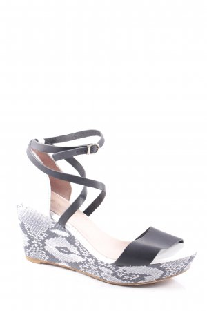 Vienty Wedge Sandals black-white reptile print