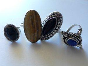 vier wunderschöne alte Ringe Silber