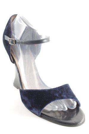 Vigneron Décolleté con zeppa blu scuro-nero effetto velluto