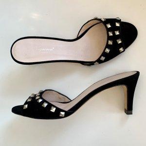 Vigneron Heel Pantolettes black-silver-colored leather