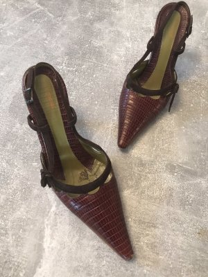 Vigneron Chaussure à talons carrés brun cuir