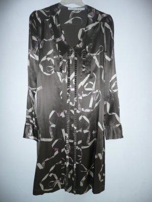 Viktor & Rolf for H&M Kleid Blusenkleid 100% Seide Braun Creme Gr 38 M
